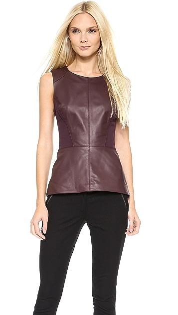 Veronica Beard Leather Laced Back Tank