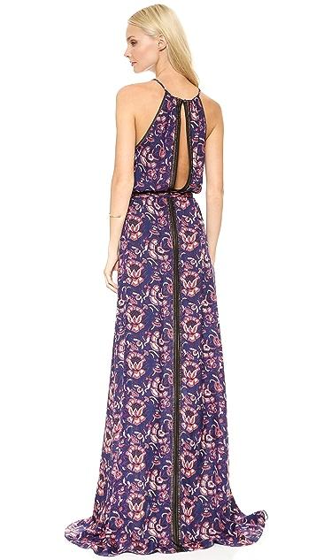 Veronica Beard Floral Batik Print Lace Trimmed Gown