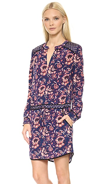 Veronica Beard Floral Batik Print Keyhole Shirtdress