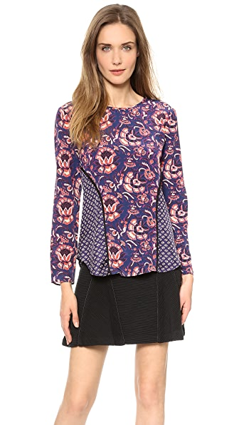 Veronica Beard Floral Batik Print Seamed Long Sleeve Top