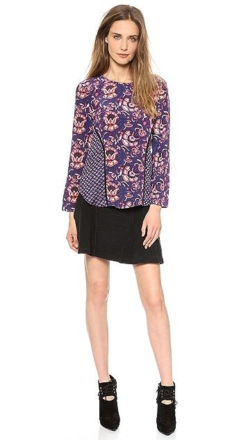 Veronica Beard Floral Batik Print Seamed Long Sleeve Top