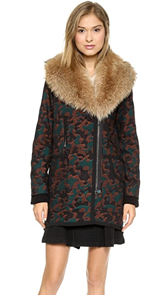Veronica Beard Camo Jacquard Parka with Fur Collar