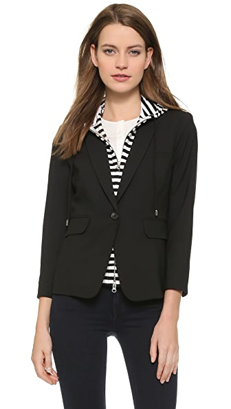 Veronica Beard Schoolboy Jacket with Striped Dickey - Black