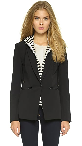 Veronica Beard Scuba Jacket with Stripe Sweater Dickey