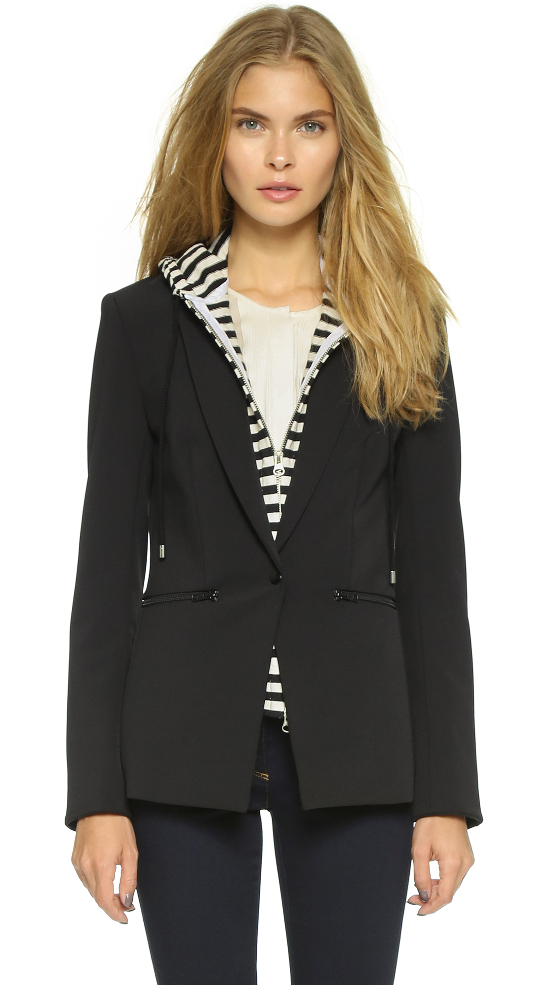 Veronica Beard Scuba Jacket with Stripe Sweater Dickey - Black
