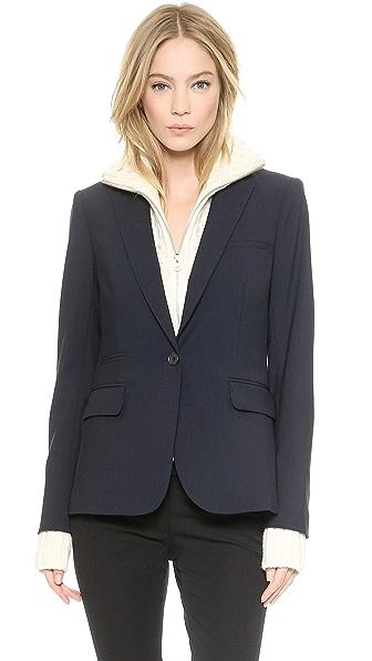 Veronica Beard Classic Wool Jacket with Upstate Dickey - Navy/Ivory