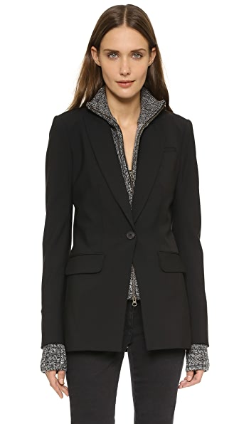 Veronica Beard Long & Lean Jacket with Melange Uptown Dickey In Black/Black/White
