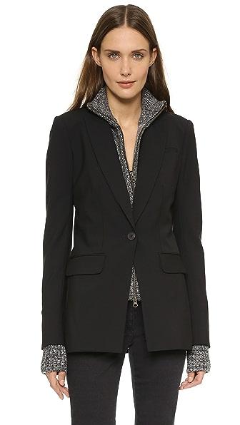 Veronica Beard Long & Lean Jacket with Melange Uptown Dickey - Black/Black/White