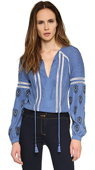 Veronica Beard Alpine Embroidered Boho Blouse
