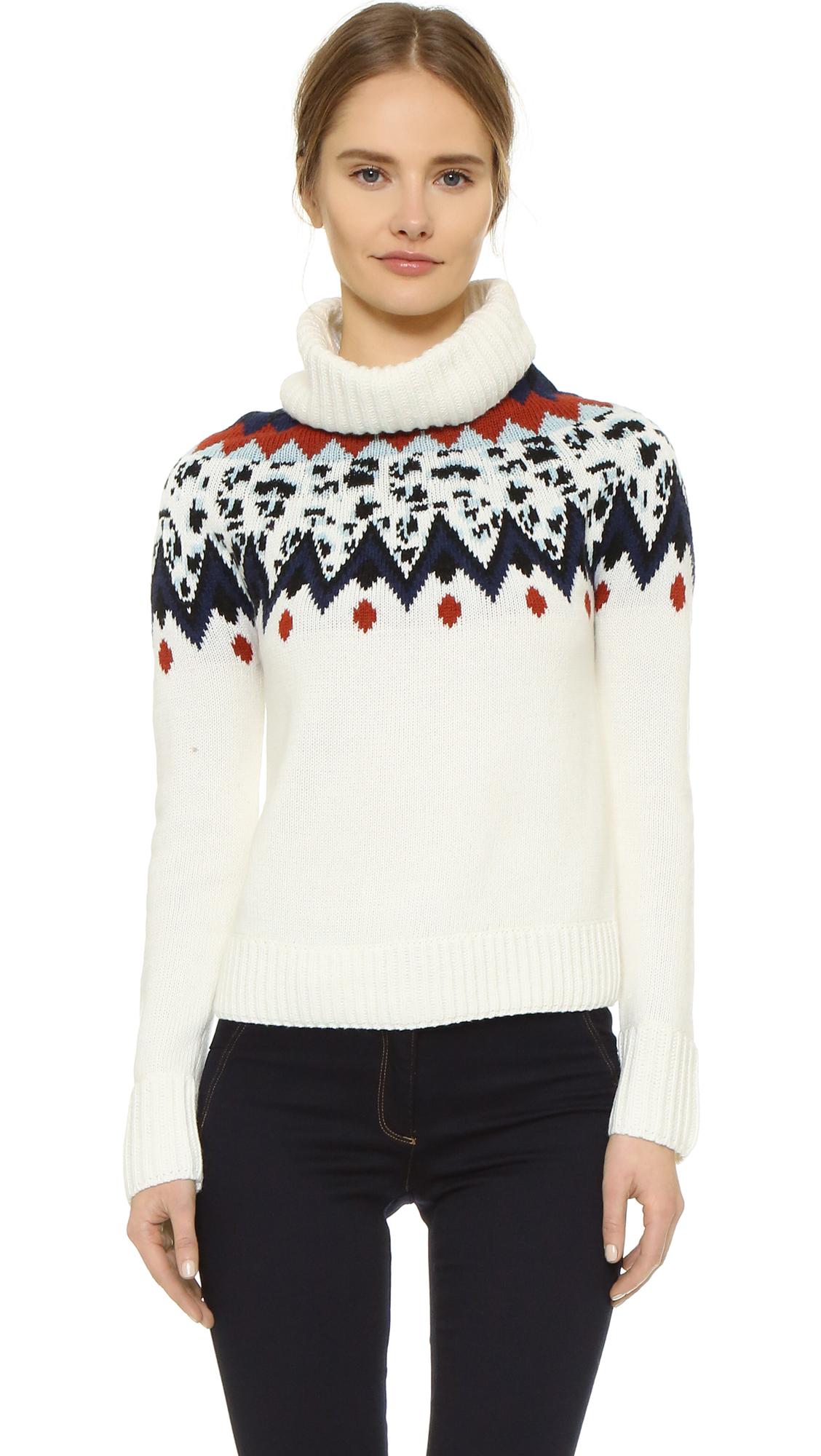 Veronica Beard Sun Valley Fair Isle Turtleneck Sweater - Ivory