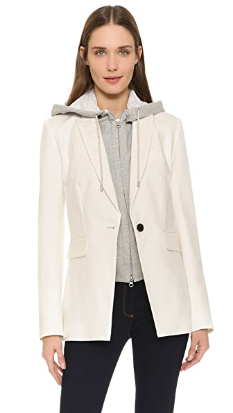 Veronica Beard Long & Lean Compact Jacket - White/Hoodie Dickey