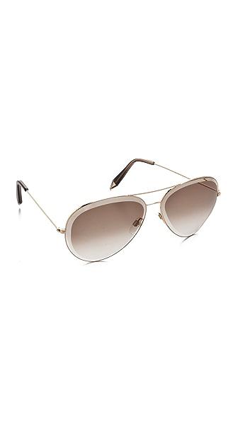 Victoria Beckham Beveled Aviator Sunglasses