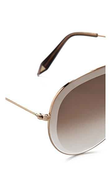 Victoria Beckham Beveled Aviator Sunglasses
