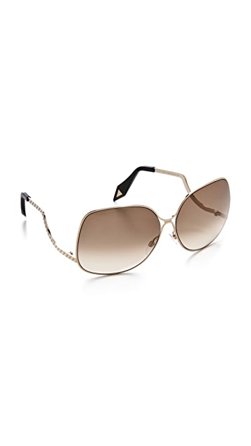 Victoria Beckham Metal Drop Temple Sunglasses
