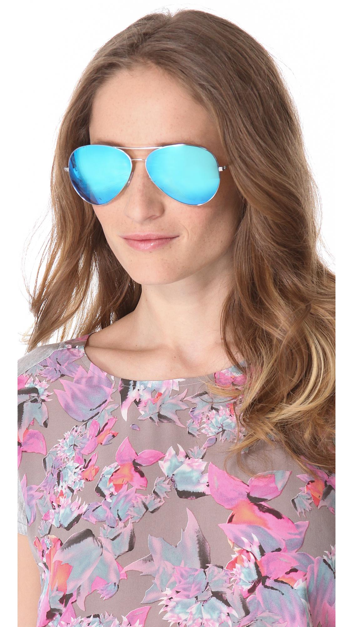 classic aviators 5apu  Victoria Beckham Classic Aviator Sunglasses with Mirrored Lenses  SHOPBOP