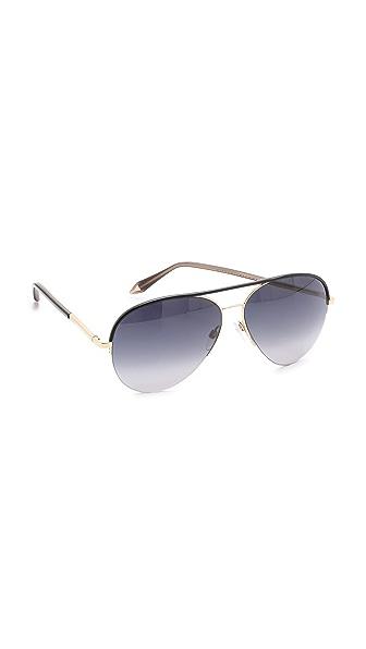 Victoria Beckham Leather Palomino Aviator Sunglasses