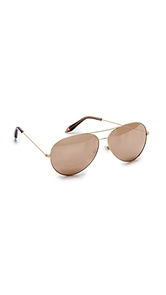 Victoria Beckham 18k Gold Mirror Aviator Sunglasses
