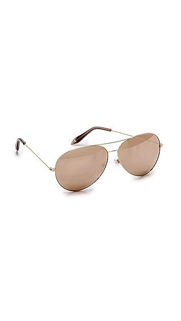 Victoria Beckham 18k Gold Mirror Aviator Sunglasses