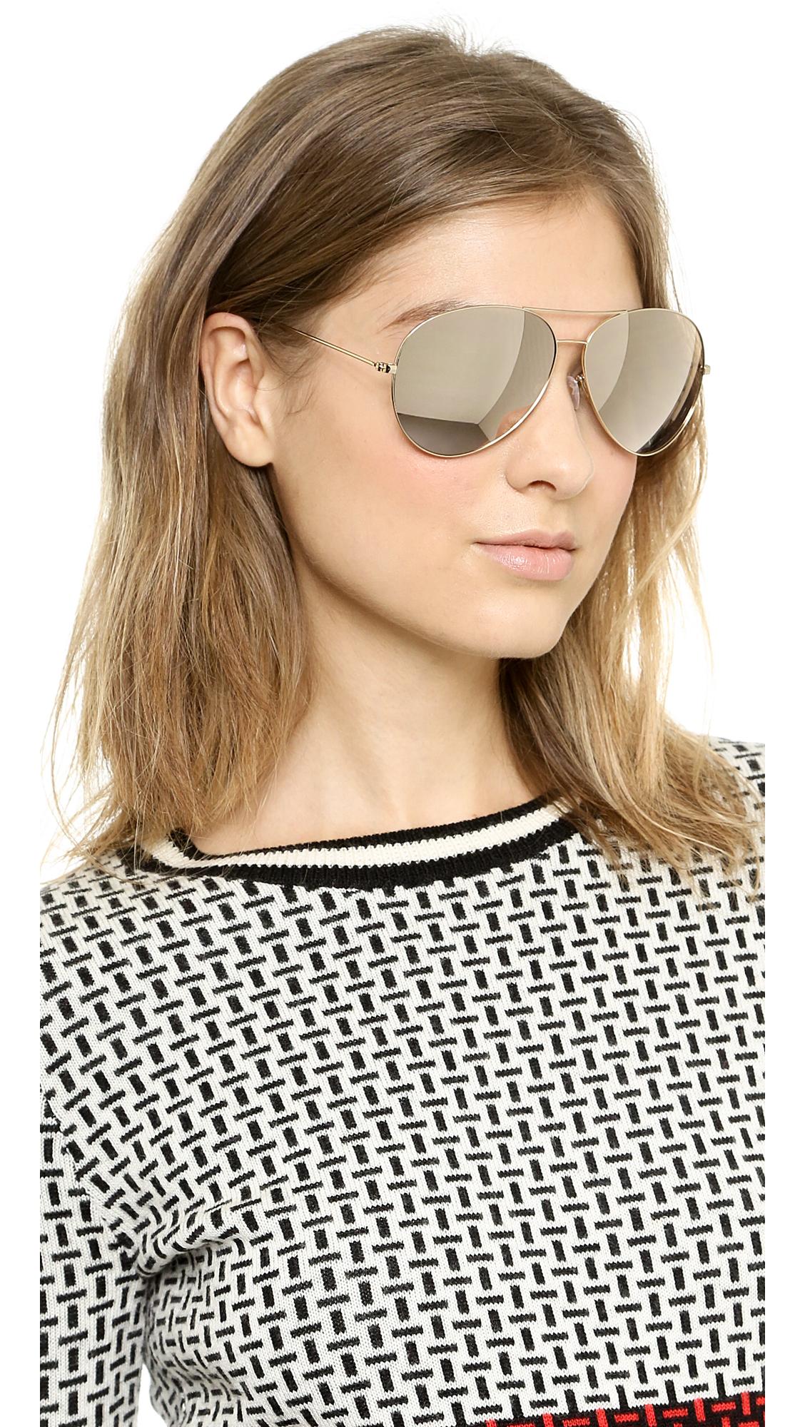 44d6d623a6 Victoria Beckham 18k Gold Mirror Aviator Sunglasses