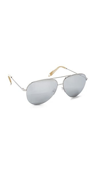 Victoria Beckham Classic Victoria Aviator Sunglasses In Silver/North Star