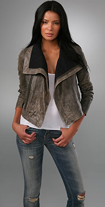 VEDA Max Distressed Leather Jacket