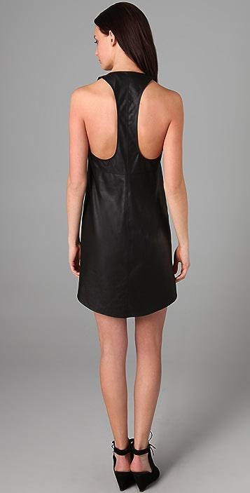 VEDA Love Razor Back Leather Dress