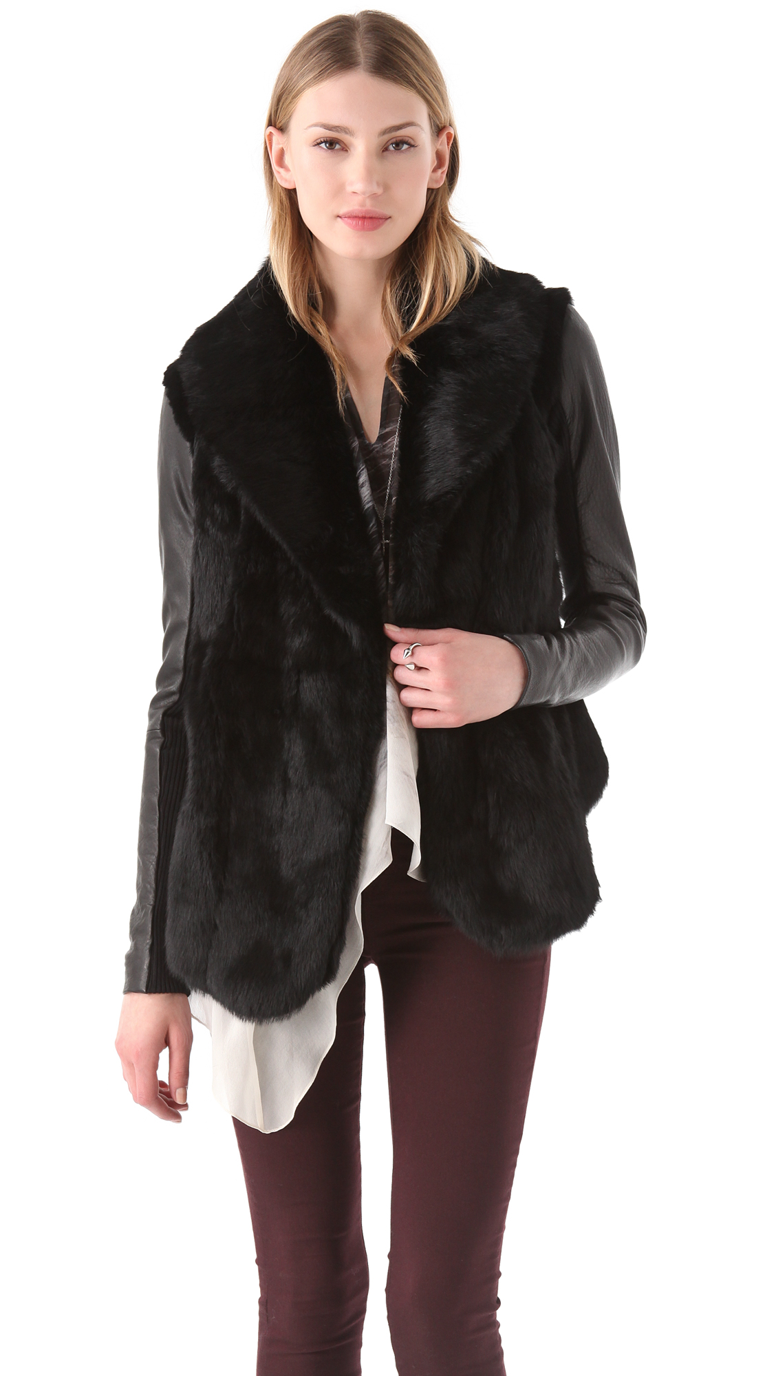 Fur Coat With Leather Sleeves - Coat Nj