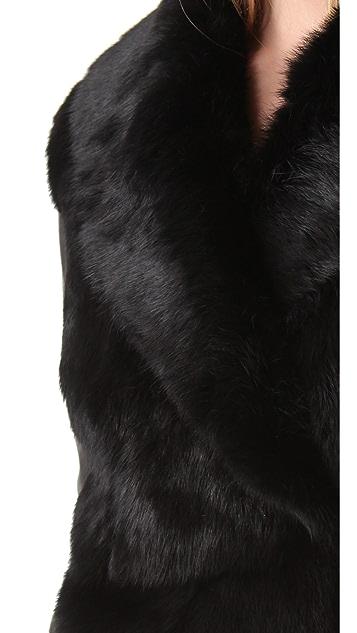 VEDA Stella Fur Jacket with Leather Sleeves
