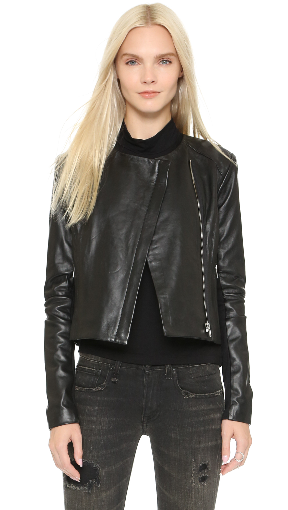 VEDA Dali Classic Leather Jacket - Black