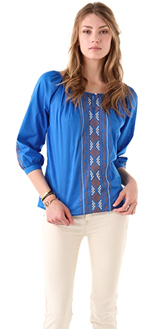 Velvet Diran Aztec Embroidered Blouse