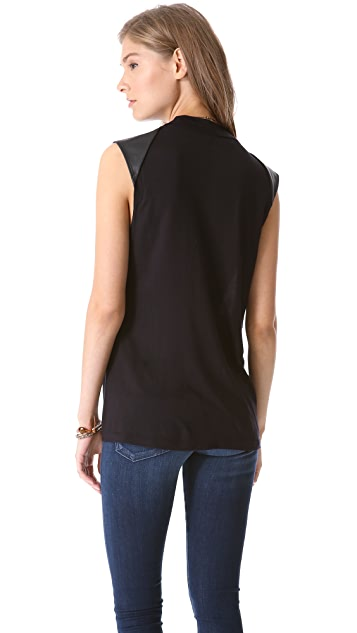 Velvet Fonda Top with Faux Leather Sleeves