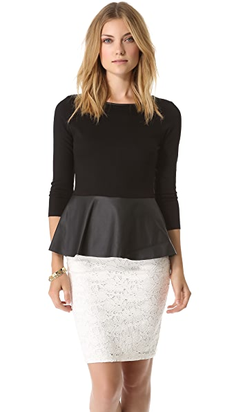 Velvet Zaire Top with Faux Leather Peplum