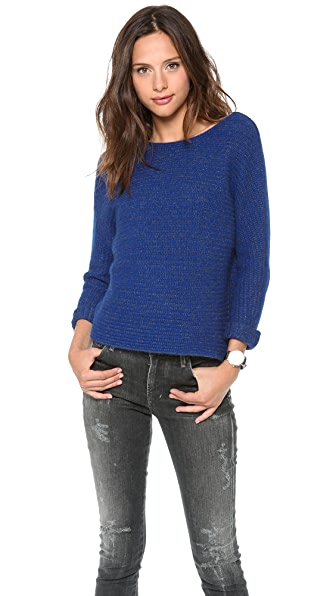 Velvet Long Sleeve Crew Neck Top