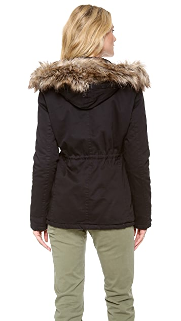 Velvet Parka with Faux Fur Hood