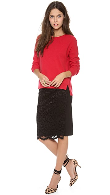 Velvet Stretch Lace Skirt