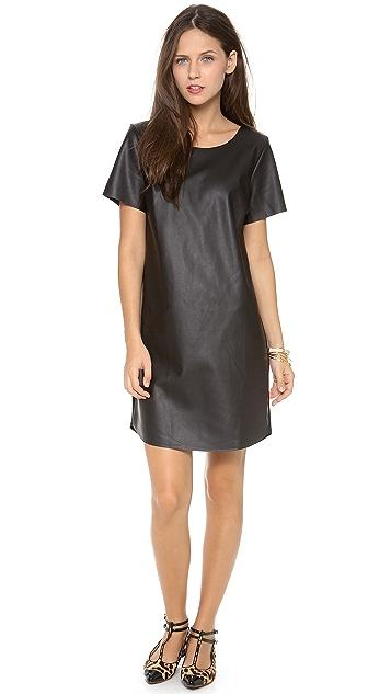 Velvet Faux Leather Dress