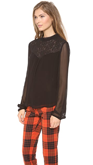 Velvet Chiffon Blouse with Lace