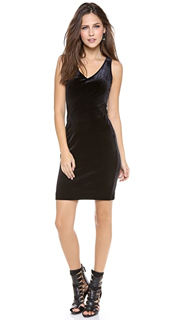 Velvet Stretch Velvet Dress with Mesh Detail