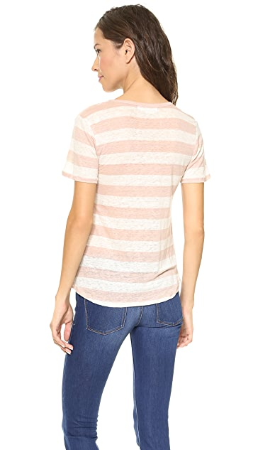 Velvet Linen Scoop Neck Tee