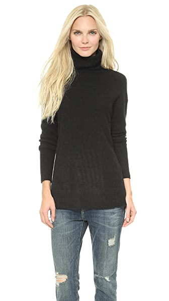 Velvet Cashmere Turtleneck Sweater