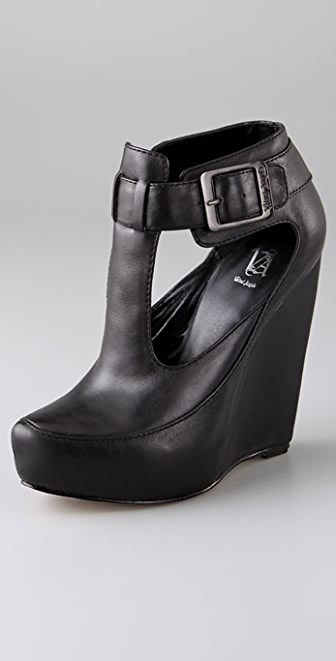 Velvet Angels Naked Lunch T Strap Wedges