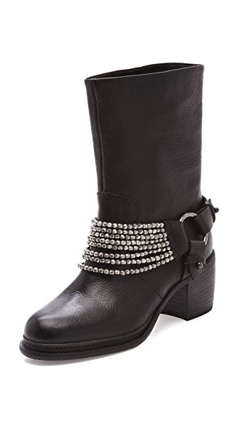 Vera Wang Natasha Biker Booties with Chain And Buckles