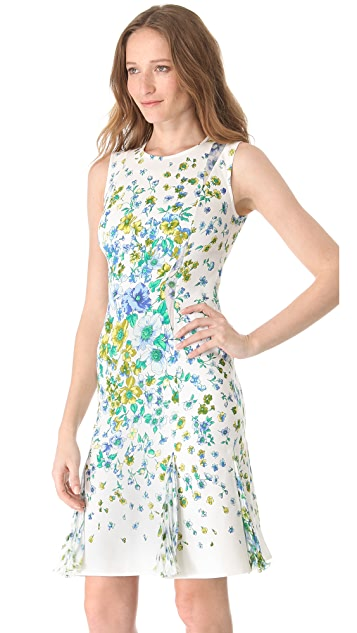 Versace Floral Sleeveless Pleated Dress
