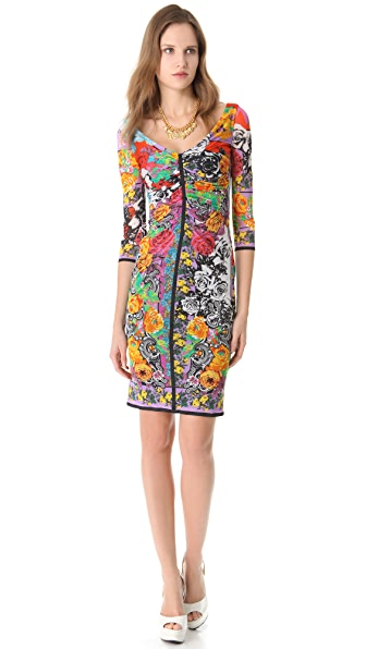 Versace Vintage Print Ruched Dress