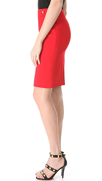 Versace Red Cady Skirt