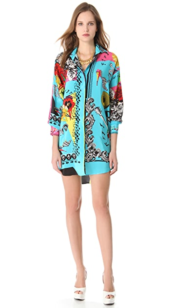 Versace Floral Music Shirtdress