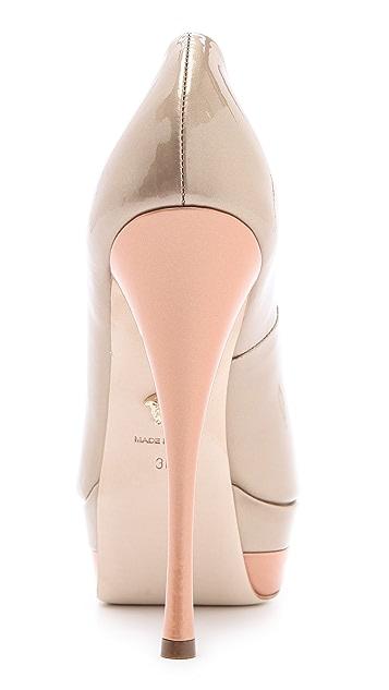 Versace Peep Toe Platform Pumps
