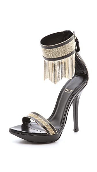 Versace Fringe Stiletto Sandals