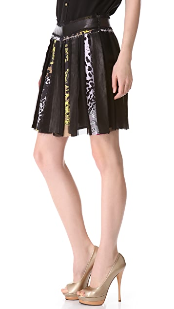 Versace Silk Miniskirt with Leather Trim