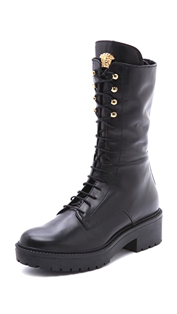Versace Leather Combat Boots